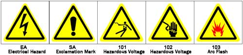 Graphic pictograms make your ANSI warning label more effective - 100 Electrical Pictograms