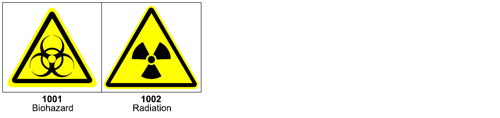 Graphic pictograms make your ANSI warning label more effective - 1000 Bio Hazard & Radiation Hazard Pictograms