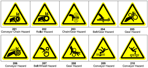 Graphic pictograms make your ANSI warning label more effective - 200 Gear/Pully/Belt/Chain/Roller Pictograms