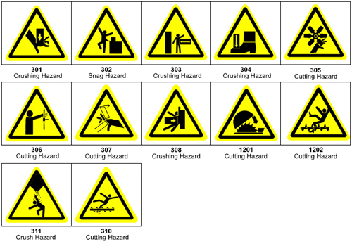 Graphic pictograms make your ANSI warning label more effective - 301 Crushing/Cutting/Snag Pictograms