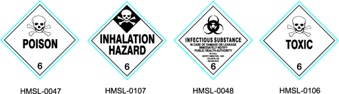 Stranco manufactures DOT Labels for Class 6 poison and toxic hazardous materials.