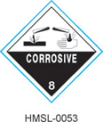 Stranco manufactures DOT Class 8 Corrosive labels for marking hazardous materials.