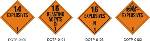 Stranco manufactures DOT Placards for Class 1 explosive hazardous materials.