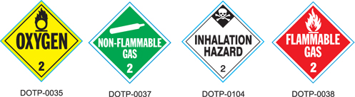 Stranco manufactures DOT Placards for Class 2 Gas hazardous materials.