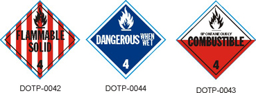 Stranco manufactures DOT Placards for Class 4 Solid hazardous materials.