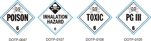 Stranco manufactures DOT Placards for Class 6 Poison and hazardous materials.