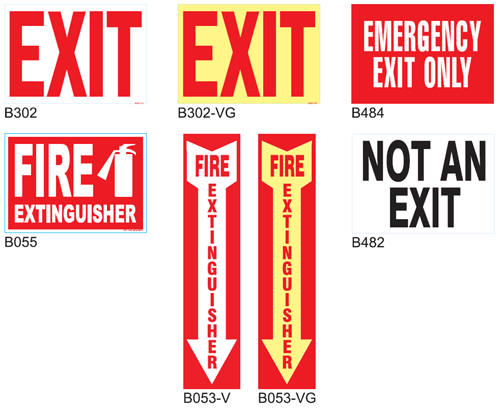 Exit and Fire Safety Signs